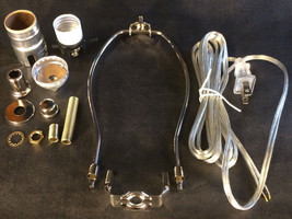 "Table Lamp Wiring Kit 6"" Nickel Plated Harp, Push-Thru Socket,Clear Silv... - $13.35"