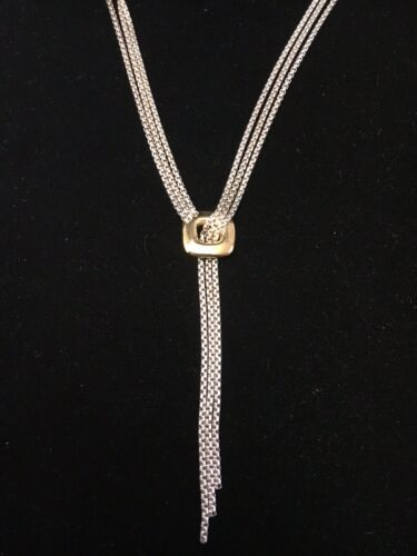 "DAVID YURMAN Sterling Silver 18K Yellow Gold 3 Strand Lavalier Necklace (16""-3"")"