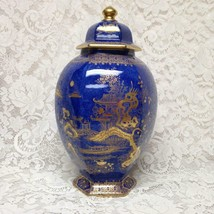 Vintage, Wilton Ware, Variant Gold-Blue Willow Large Temple Jar 14.5in x 8.5in - $213.70