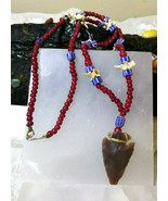 Necklace Vintage Red White Heart and Chevron Trade Beads Arrowhead Rattl... - $44.80