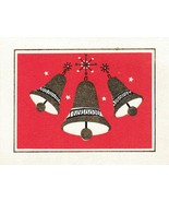 Vintage Christmas Card Gold Bells Red Background Gibson Mid Century - $7.91