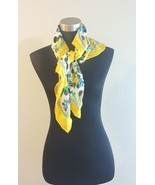 The Specialty House Inc Yellow Floral Print Silk Scarf  - $20.00