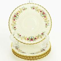 4 Vintage LENOX Cinderella Saucers ~ Floral w/ Gold Trim V-308 Made in USA - $54.19