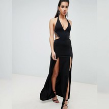 NWT! ASOS Design Black Halter Lace Up Maxi Gown Dress, Women's UK 8, US ... - $49.50