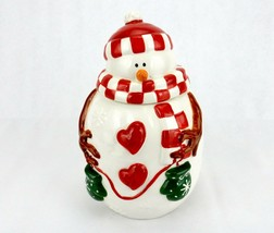 Vintage Porcelain Cookie Jar, Plump Snowman w/Red Checkered Hat & Scarf - $34.25