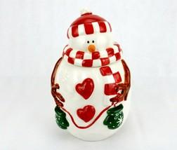 Vintage Porcelain Cookie Jar, Plump Snowman w/Red Checkered Hat & Scarf - $34.25