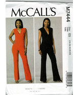 McCalls Pattern M7444 Misses/Plus Sz 14 16 18 20 22 Close Fitting Jumpsu... - $9.87