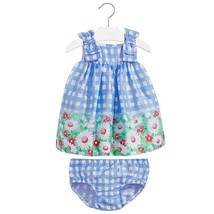 Mayoral Baby Girls 3M-24M Blue Bow Shoulder Check Plaid Border Print Dress