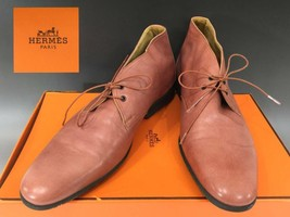 Tf0176 Hermes Auth leather chukka boot pink kangaroo 42 - $501.81