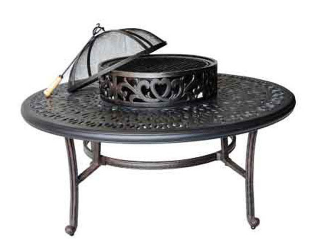 Patio outdoor tables Elisabeth Cast Aluminum Ice Tea firepit table Desert Bronze