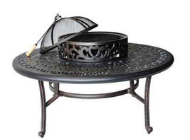 Patio outdoor tables Elisabeth Cast Aluminum Ice Tea firepit table Desert Bronze image 1