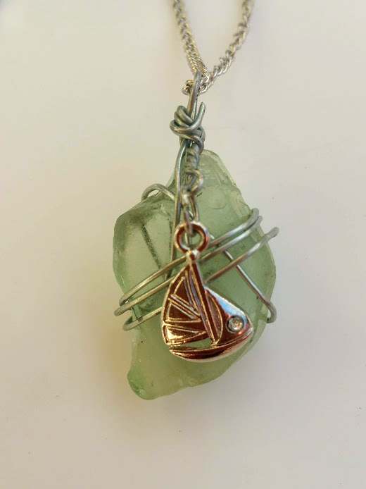 Sail Away necklace: Pale Estonian sea glass, sail boat charm & silver wire