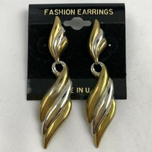 Vintage Two Tone Dangle Earrings Gold Silver Color NOS 1980s 1990s Shiny - $14.80