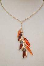 Lovely vintage short lariat necklace amber & sterling silver drops clust... - $37.61