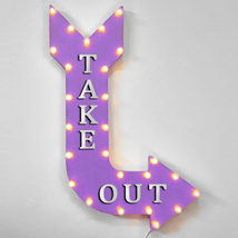 """36"""" TAKE OUT Curved Arrow Sign Light Up Metal Marquee Vintage Food Items... - $155.93+"""