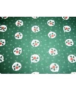 Green with Small White Christmas Wreaths Christmas Fabric  - $3.49