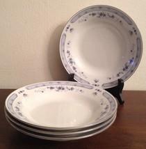 Valencia by Sango China Set Of 4 Soup or Salad Bowls #8223 White w/ Blue... - $11.87