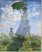 Stretched Canvas - Woman with a Parasol Painting by Claude Monet Reprodu... - $102.99+