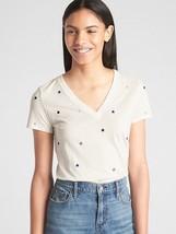 NWT GAP Cream Embroidered Stars Tee 100% Cotton T-Shirt Women's M  - $19.99