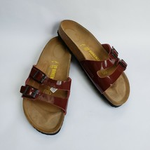 Birkenstock Shoes Sandals 2 Strap Maroon Patent Leather Germany US 8-8.5... - $79.15