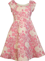 Bonnie Jean Little Girl 2T-6X Pink Gold Floral Jacquard Fit Flare Social Dress