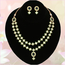 TWO LINES KUNDAN WHITE STONES CHOKER NECKLACE WEDDING JEWELRY PARTY WEAR... - $24.74