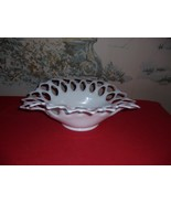 Vintage Westmoreland White Milk Glass Lattice Open Lace Fruit Bowl - $24.75