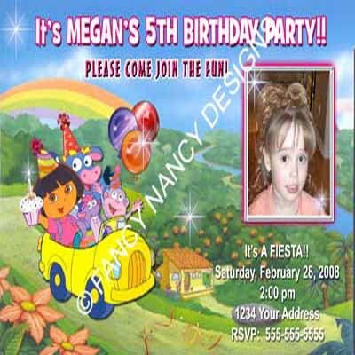 Dora The Explorer Go Diego Go Girls Boot Custom Photo Birthday Party Invitations