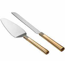 Waterford Diamond Gold Bridal Cake & Knife Server 2 Piece Set New Boxed - $63.90