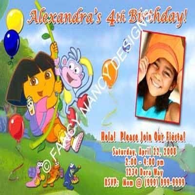 Dora The Explorer Go Diego Go Girls Tennis Pink Photo Birthday Party Invitations