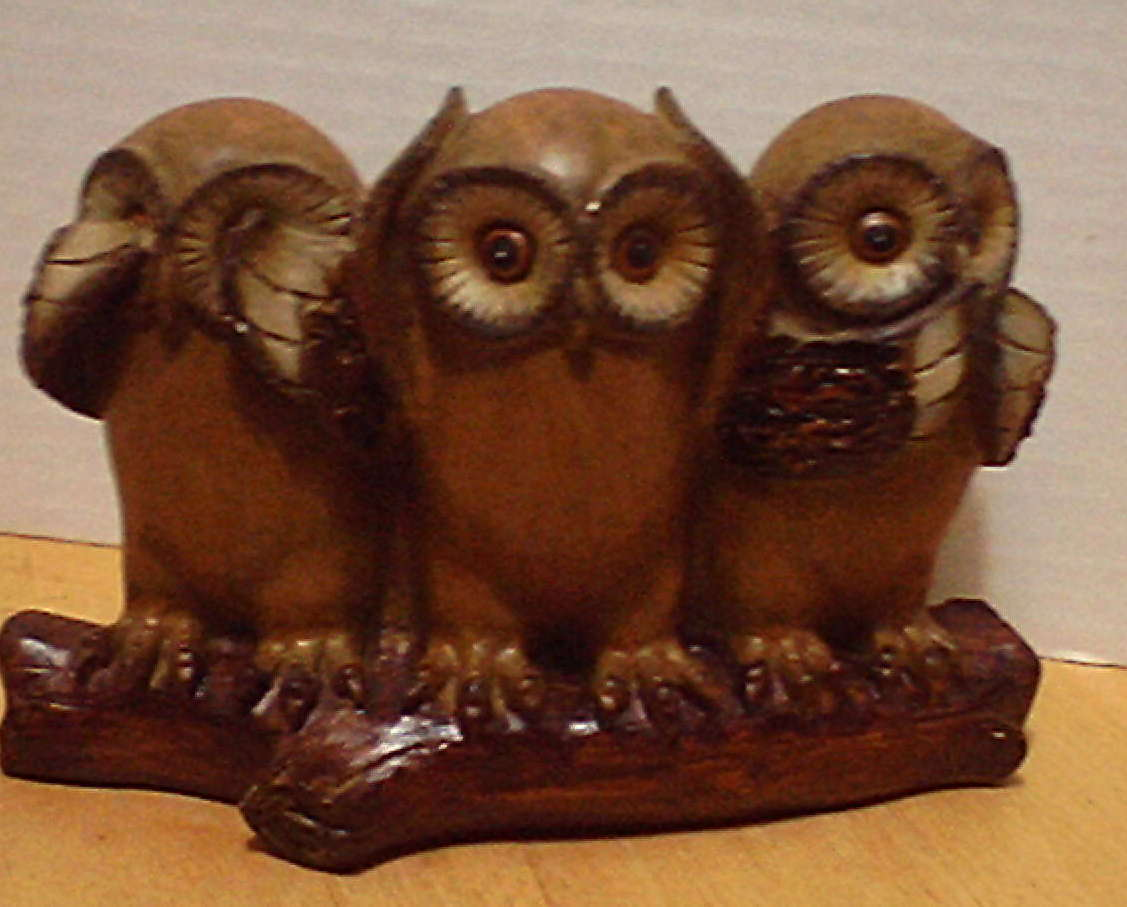StealStreet SS-G-54465 See and Speak No Evil Figurine Set of 3 Brown and Cream Owl Hear