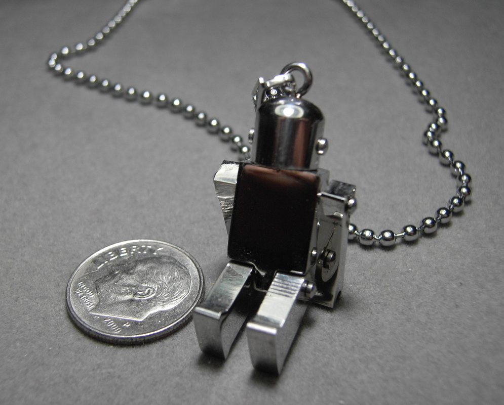 """Stainless Steel Robot pendant with 19.5"""" Chain Movable 3D"""
