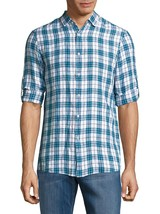 New Michael Kors Slim Fit Plaid Blue 100% Linen Convertible Sleeve Shirt M $129 - $49.99