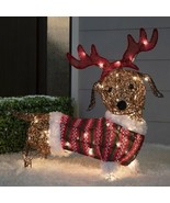 Lighted Dachshund Wiener Dog Sculpture Pre Lit Outdoor Christmas Decor Yard - $98.50