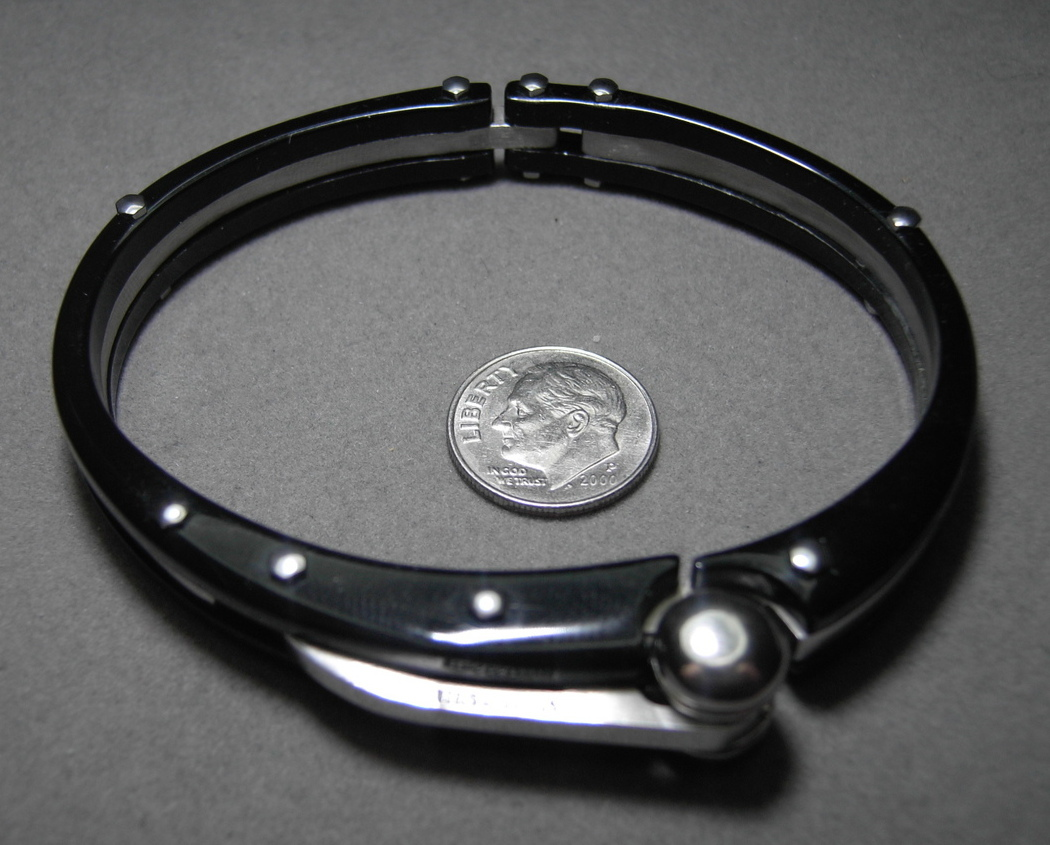 Mens Cuff Bracelet in Stainless Steel Black and Silver Color Massive Bold Look
