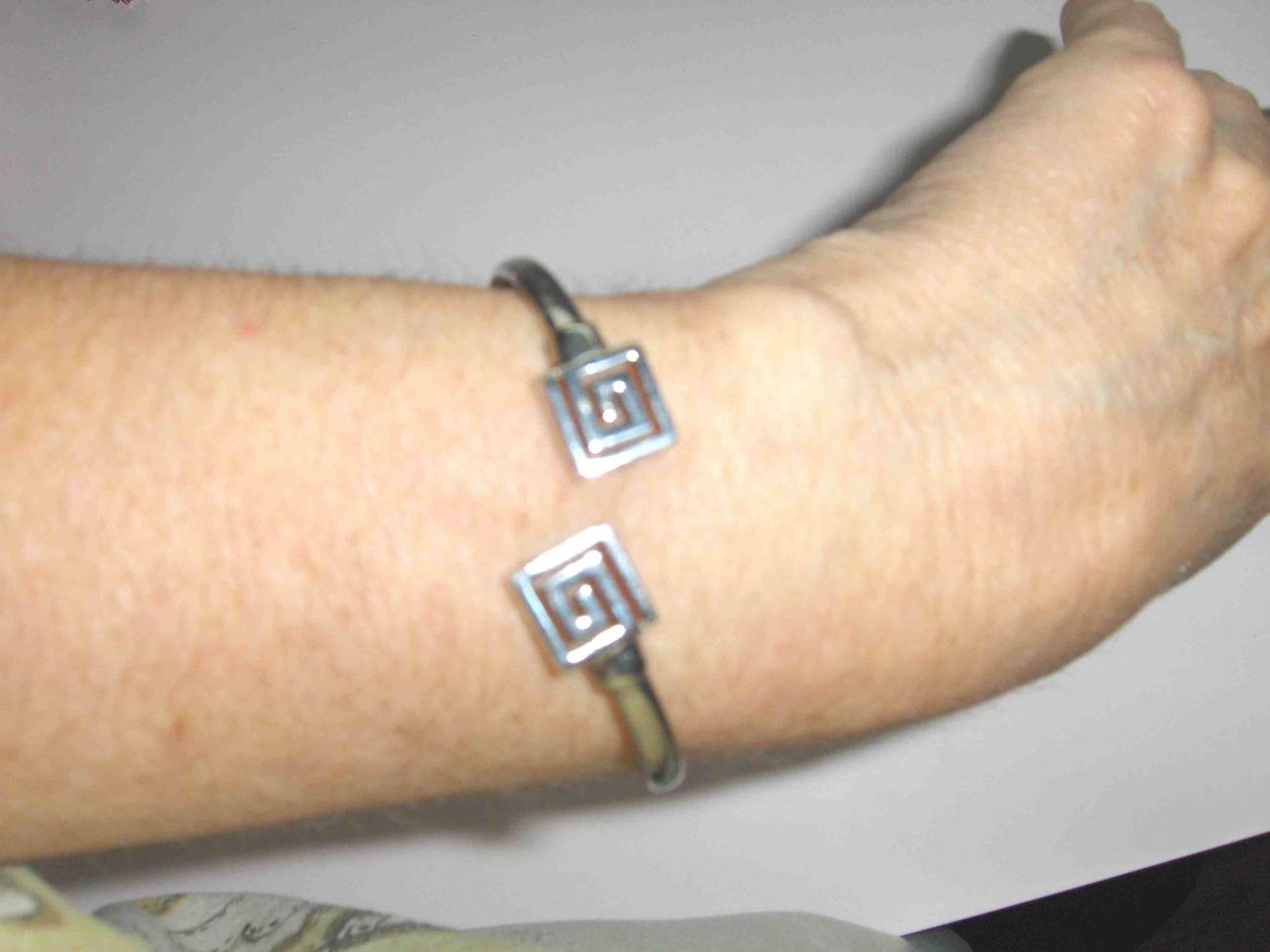Sterling Silver Flexible Greek Key Bracelet