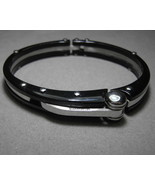 Mens Cuff Bracelet in Stainless Steel Black and Silver Color Massive Bol... - $20.00