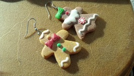 Mr. & Mrs. Gingerbread Man Clay Earrings THIS ITEM FOR MILLIONTH USER WI... - $9.60