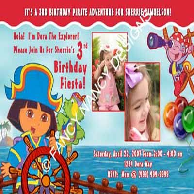Dora The Explorer Go Diego Go Girls Pirate Pink Photo Birthday Party Invitation