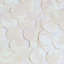 Round Sequin 30mm White Iris Rainbow Embosssed Swirl Texture Couture Pai... - $14.97