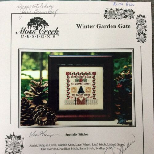 Primary image for Moss Creek Winter Garden Gate Cross Stitch Kit Signed Sampler Rae Iverson
