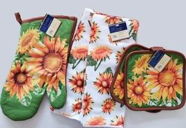 Sunflower Kitchen Set, 5pc, Towels Potholders Oven Mitt Yellow Green Flowers