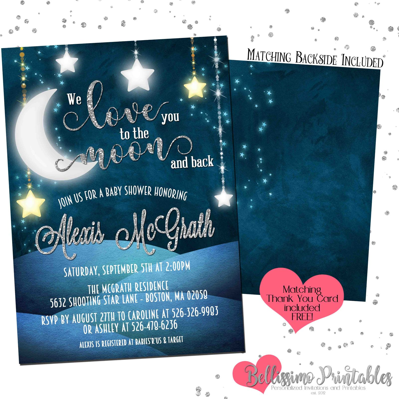 New Love You To The Moon Printable Invite: Blue Moon Wedding Invitations At Websimilar.org