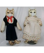 Vintage Cat Doll Figures Boy & Girl Porcelain Ceramic Collectable No Chi... - $98.01