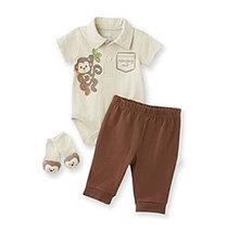 Vitamins Baby Baby Boys' Brown 3-pc. Monkey Pants Set Size 9 Months - $24.00