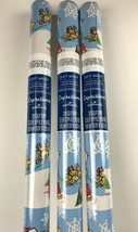 3 New Santa Snoopy Woodstock Reindeer w/Sleigh Christmas 20sq Ft Wrapping Paper - $27.23
