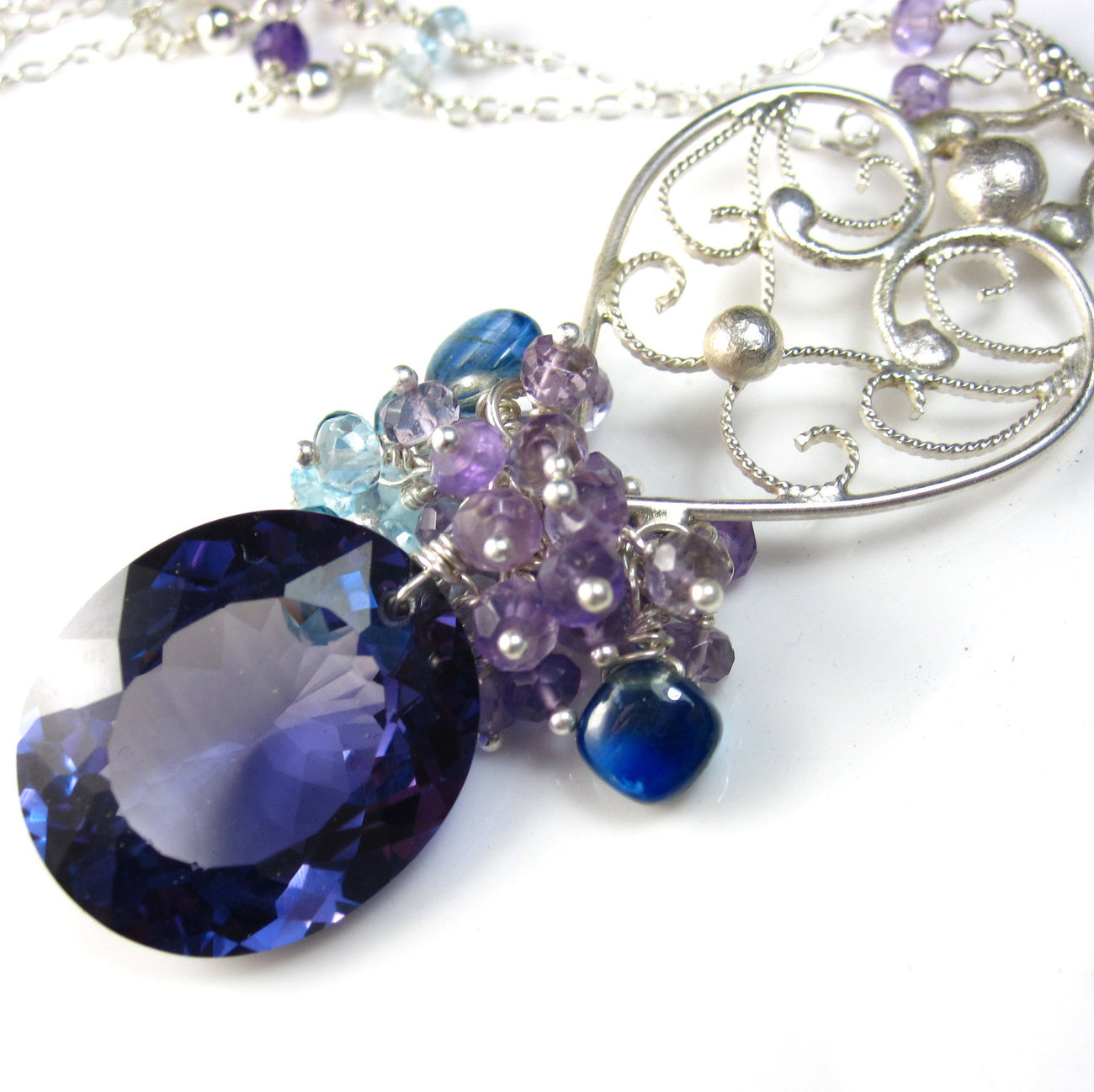 Purple Midnight Necklace - Alexandrite, Gemstone, and Sterling Silver
