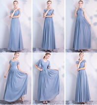 BLUSH Chiffon Bridesmaid Dresses Blush Pink Spaghetti Cap Sleeve Maxi Prom Dress image 8