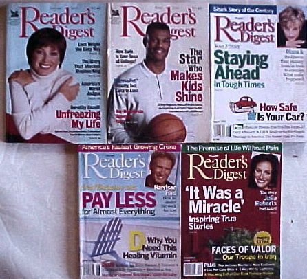 Primary image for (5) READER'S DIGEST Magazines-2001-JANUARY, APRIL, AUGUST; 2003-JUNE, DECEMBER