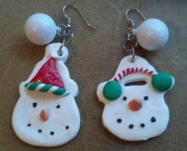 Winter Snowman and Snowwoman Clay Earrings 2 Hand Made In USA - $19.99